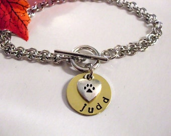 Dog Bracelet, Dog Jewelry, Paw Jewelry, Paw Print Bracelet, Personalized Pet Bracelet, Hand Stamped Jewelry, Stainless Steel Chain