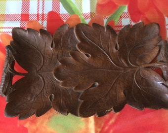 Vintage 1940s Sytoco Wood Tray Leaf Floral Made in USA Syracuse NY