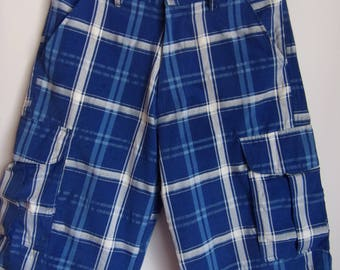Vintage Gentleman's Trousers/Blue White Cotton Shorts/Summer Beach Shorts/Checked Shorts/Pockets/Size Large