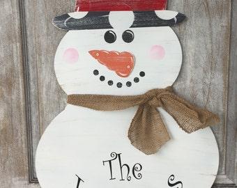 Metal Snowman Doorhanger with Name