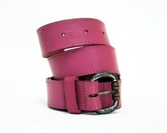 80s Deep Magenta Pink Leather Party Belt by Omega