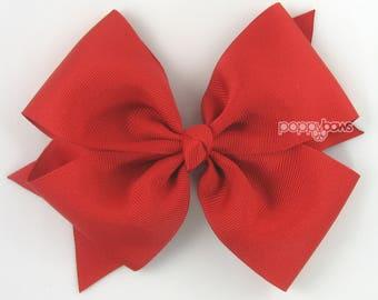 "Red Hair Bow - 5"" Girls Hair Bow, Big Hair Bow, 5 inch Bows, Pinwheel Flat Hair Bow, Christmas Basic Large Hair Bows, Baby Hair Bow, Cute"