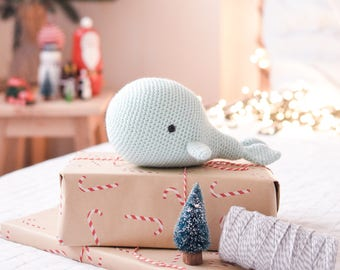 Mint Green Whale . Stuffed Animal Plushie Crochet Amigurumi . Decor . Kids Decor . Kids Toys