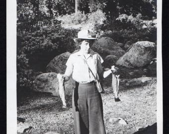 Vintage Snapshot Photo Woman Posing with Fish Caught Catch of the Day 1940's, Original Found Photo, Vernacular Photography