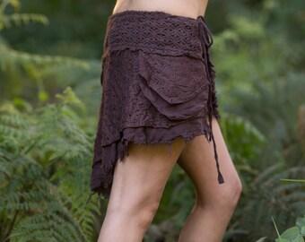 Primitive Skirt (Brown) - Festival Clothing Gypsy Bohemian Skirt Hippie Cotton Crochet Midi Knee Goa Ethnic Nomadic Rave Psytrance Boho