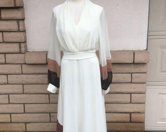 Chiffon High Waist Party Gown 1970s White & Brown Color Block Maxi Dress Medium TALL