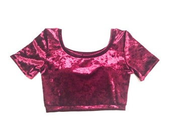 Crushed Velvet Short Sleeve Crop