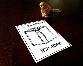 This book belongs to 50 Personalized Open Book Ex Libris Bookplates Booklabels