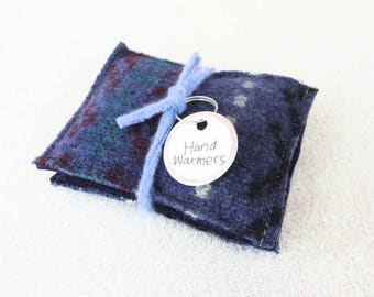 Pocket Hand Warmers DENIM BLUE Reusable Felted Sweater Wool Handwarmers Rice Bags Ecofriendly Gift by WormeWoole
