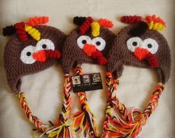 Crochet Turkey beanies, thanksgiving beanies, turkey hat