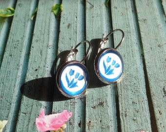 Delft Blue Tulip Earrings