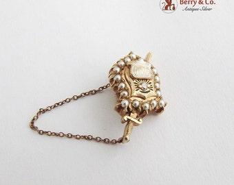 Vintage Fraternity Sorority Pin Phi Delta Theta 14K Gold Seed Pearls Diamond