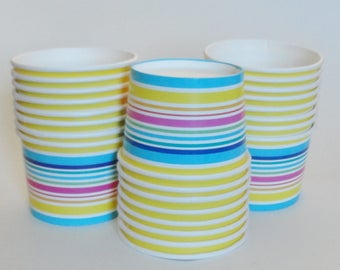 1 Set Summer Striped Party Cups/Bowls - Orange Yellow Blue Purple Pink Green White Ice Cream Cups Dessert Bowls Baby Shower Kids Birthday