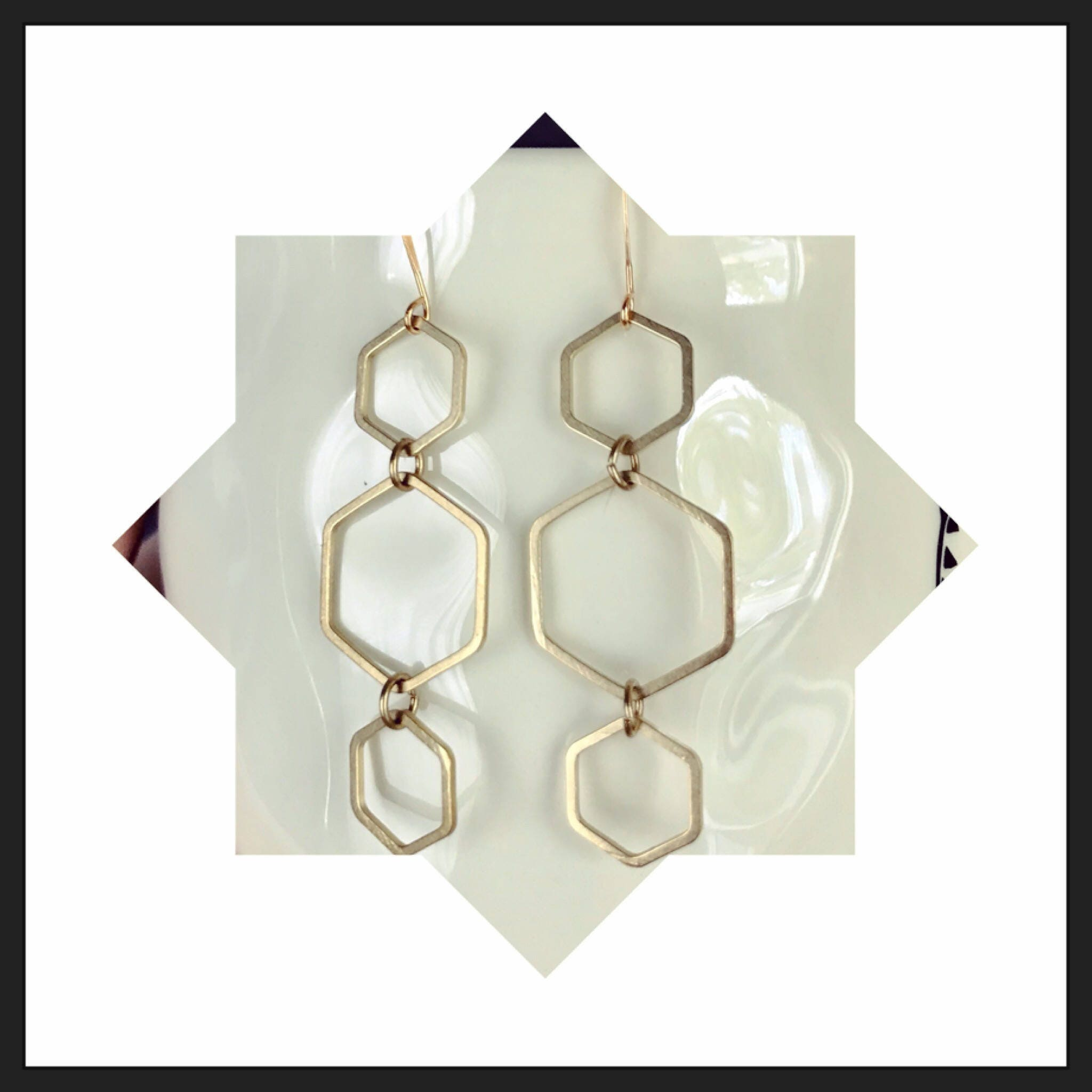 lyst j normal crew earrings double hexagon product white gallery in jewelry jcrew