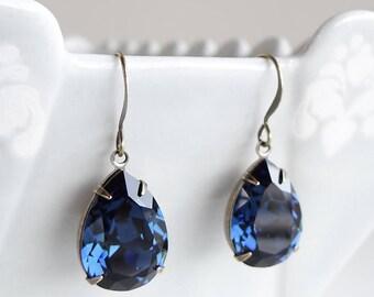 Swarovski Crystal Montana Blue Rhinestone Teardrop Pear Rhinestone Earrings