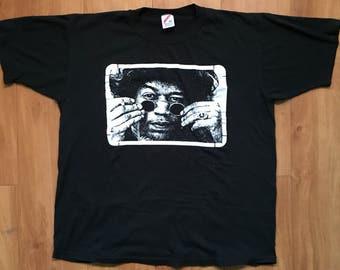 Jimi Hendrix Vintage T-Shirt Size XL Tee The Experience glasses rock n' roll shirt Black & White