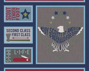 SALE Modern Scouting Panel Navy Blue by Riley Blake Designs - Boy Scouts Eagle - Quilting Cotton Fabric