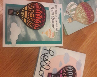 Birthday Greeting Card with Hot Air Balloons