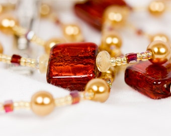 Red and Gold Rosary, Dichroic Rosary, Glass Pearl Rosary, Beaded Rosaries, Handmade Rosary