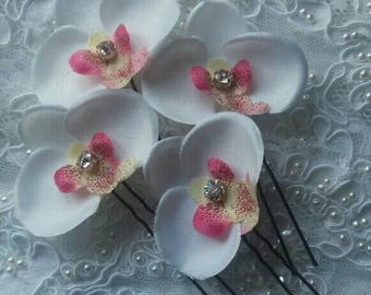 Pink and White Orchid Hair Pins wedding Hair Pins Wedding hair flowers for festival white and pink orchid flower Wedding Hair Accessory