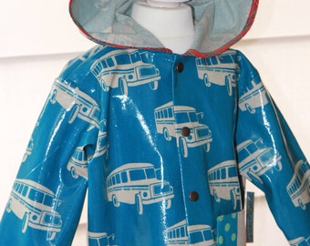 Rainjacket for Kids with hood from Echino fabric with print