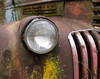 Red Pickup headlight with yellow