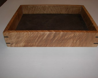 Wood Tray / Beautiful Figured Maple Valet Tray / Desk Tray with Ebony splines [100_1391]