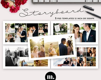 20x10 Storyboard Template, Blog Board, Digital Collage Template for Photographer - INSTANT DOWNLOAD - SB003
