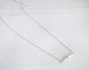 pearl bar necklace, tiny pearl necklace, gifts for her, bridesmaids gifts, minimalist jewelry, pearl necklace, bar necklace, freshwater
