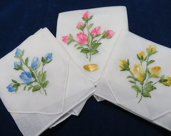 3 Vintage Hankie Set White With Yellow Blue and Pink Roses Made in Switzerland Hanky Handkerchief