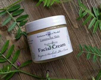 Organic Vegan Facial Cream, Natural Plant Based Face Moisturizer, Unscented Herbal Face Lotion, Vegan Skin Care, Organic Skin Care