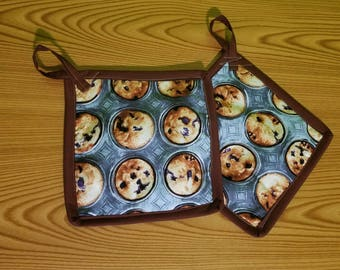 Blueberry Muffins Set of 2 Potholders