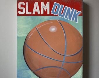 Sports Decor,  Basketball Wall Art, Boy Room Decor, Nursery Canvas Art,  Baby Boys Room Art Print