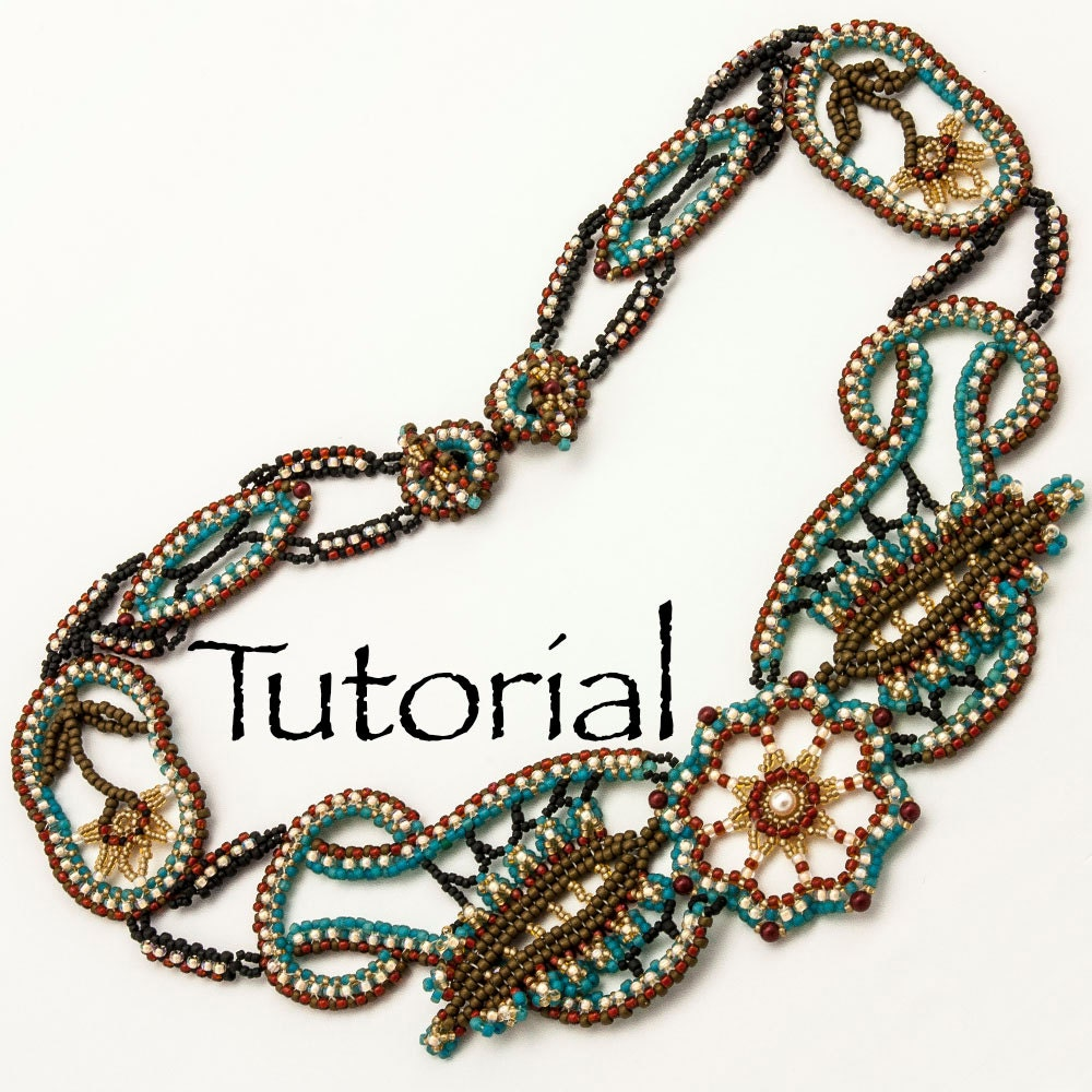 Seed bead lace necklace desert rose advanced tutorial zoom baditri Image collections