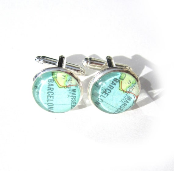 World map cufflinks - South Europe variations