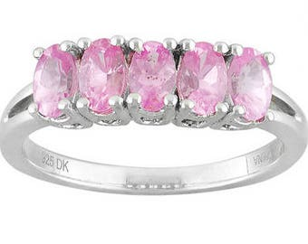 SALE! Vintage 5 stone Genuine Pink Spinel Ring. Size 5 1/4. (Sizable.)