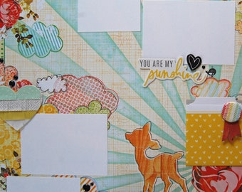"12x12 Premade Scrapbook Page Layout called ""You Are My Sunshine"" Bright Sunshiny Day, Such a Dear, Spotted Fawn, Bambi Memories, Petting Zoo"