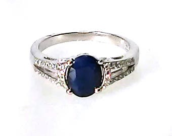 Vintage Deco Ring Natural Blue Sapphire 14K White Gold Coated 925 Silver
