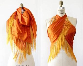 Vintage Silk Scarf • Tassel Scarf • Orange Silk Scarf • 80s Scarf • Large Silk Scarf • Fringe Scarf • Orange Scarf • Boho Silk Scarf | SC260
