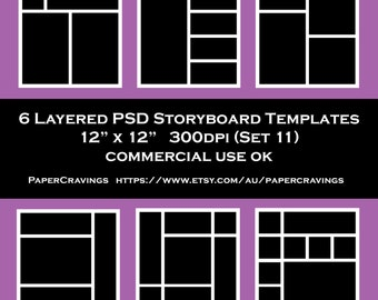 Storyboard Template 12 x 12 Photo Collage psd Commercial Photoshop Blog Board Template Photography Business Template Instant Download Set 11