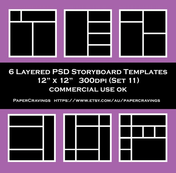 Storyboard Template 12 X 12 Photo Collage Psd Commercial