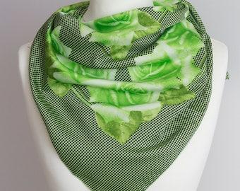 "Vintage scarf, Square scarf, spring scarf, polyester scarf, fabric women scarf shawl 88cm / 34"" floral rose scarf green black"