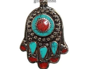 Hamsa pendant Turquoise Pendant nepal Pendant nepalese pendant Tibetan Pendant bohemian pendant gypsy pendant southwestern country B9