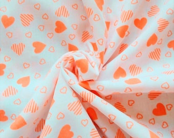 Vintage Polycotton Dress Fabric - 1960's/1970's - Soft orange hearts on a WHITE background - 1 piece - Unused