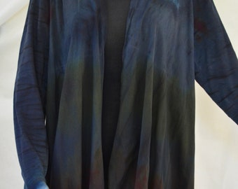 Cotton Jersey Waterfall jacket, One of a kind, Shibori dyed in black, blue and green, XL