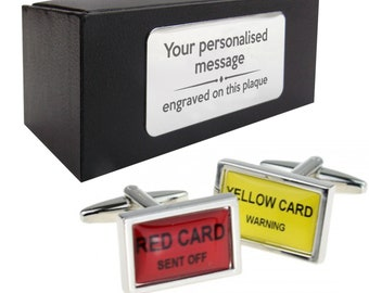 Football referee red yellow cards novelty CUFFLINKS gift, presentation box PERSONALISED ENGRAVED plate - 106
