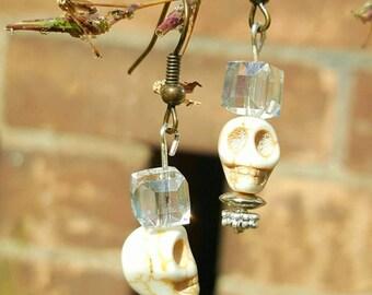 Crystal skull earrings - day of the dead earrings - halloween skull earrings - silver skull earrings - silver crystal earrings