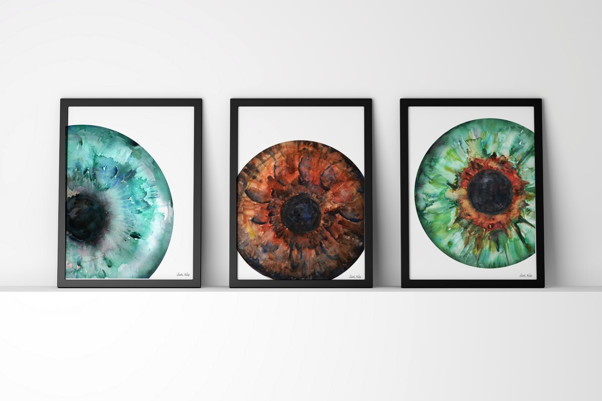 Set of 3 Iris Prints Eye Art Eye Anatomy Optometry and