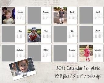 2018 Calendar Template, 5x7, Personalized Calendar Pocket Calendar Printable, Landscape Calendar, Layered Digital PSD Photographer Template
