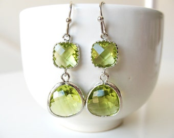 Apple Green Earrings Silver Green Earrings Apple Green Briolette Earrings Apple Green Bridesmaids earrings Apple Green Weddings